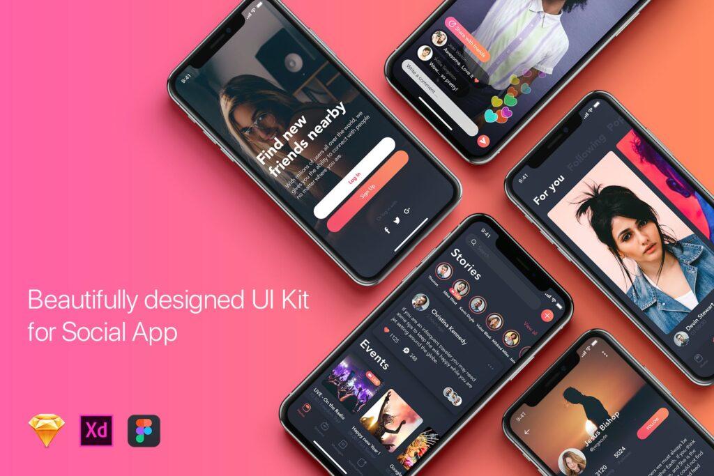 图片社交类移动应用模板素材下载Social Mobile App UI Kit for iPhone X插图