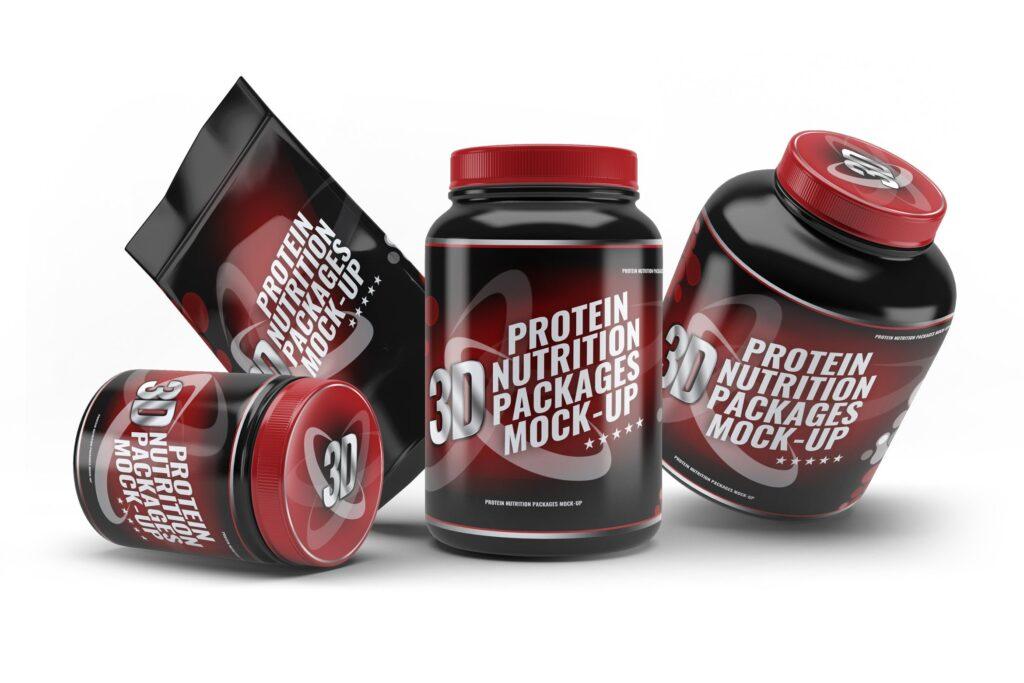 健身营养蛋白粉包装瓶样机模型下载Sport Nutrition Packages MockUp插图