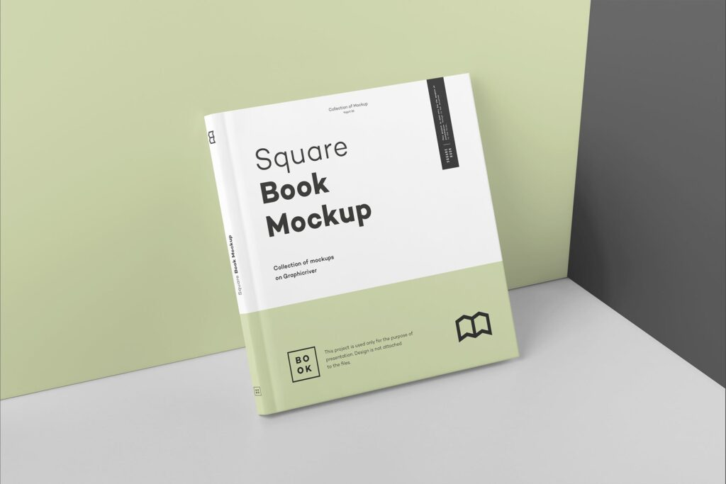 文艺优雅正方形书籍样机模板下载Square Book Mock up 2插图