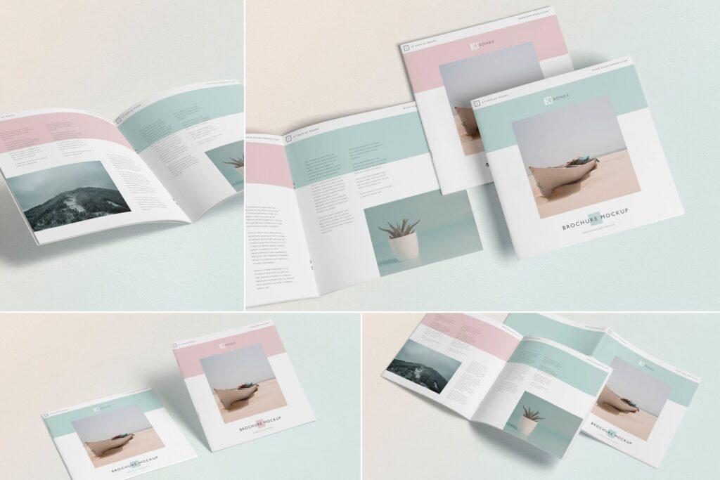 企业介绍类小册子/杂志模型样机素材下载Square Brochure Magazine MockUp插图
