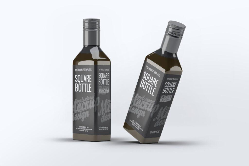 厨房通用调味瓶/黑色方形玻璃瓶模型样机素材Square Glass Bottle MockUp插图