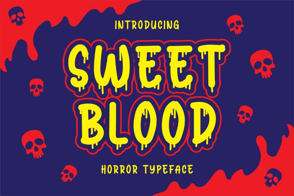万圣节恐怖海报英文手写字体下载Sweet Blood Horror Typeface插图