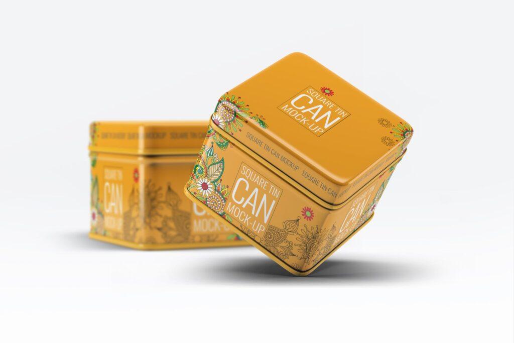 高级锡包装罐模型/茶叶包装罐样机素材下载Tin Can Mock Up LQMJ9G插图