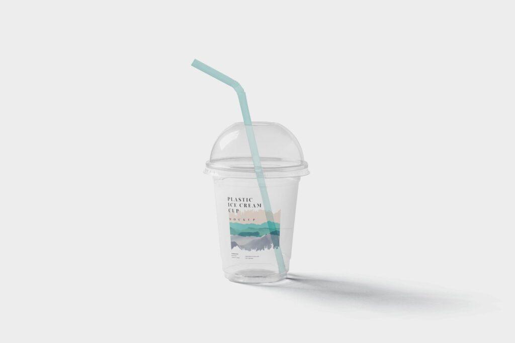 塑料透明冰激凌杯模型样机/品牌包装Transparent Plastic Ice Cream Cup Mockups插图