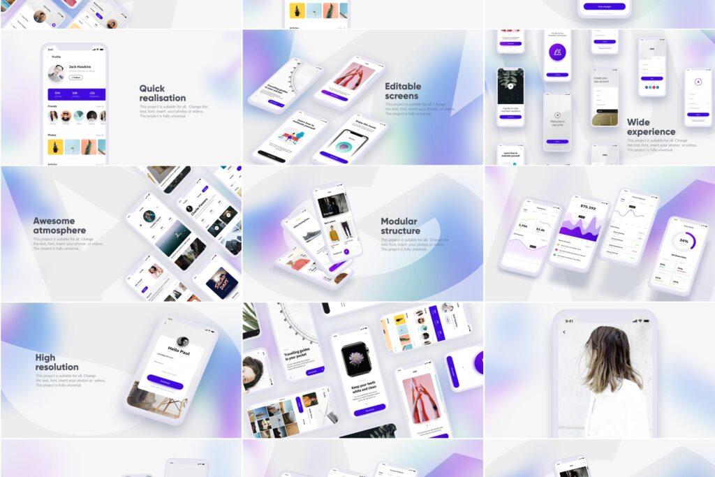 白色苹果手机多种展示模型样机下载White iPhone Mockup插图