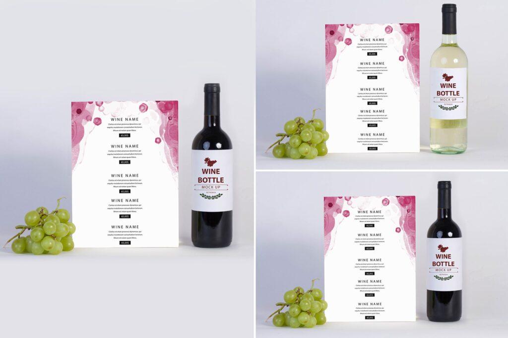 白葡萄酒介绍页/传单样机模型效果图Wine Menu Mock Up插图