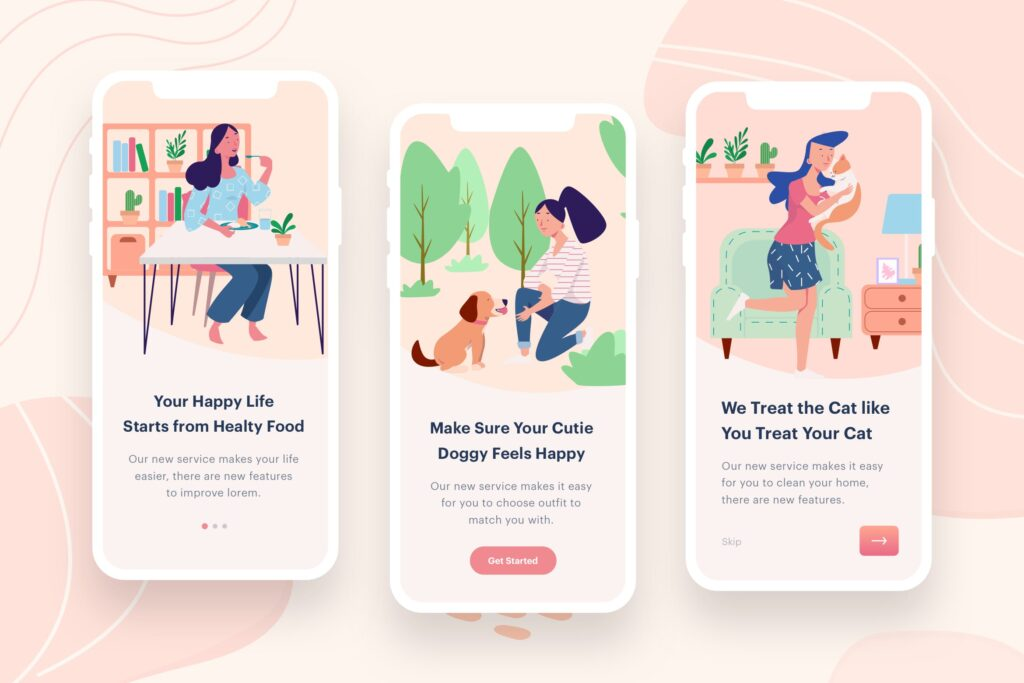移动应用程序插画主题/启动页模板素材Womens Eat Play Illustration插图