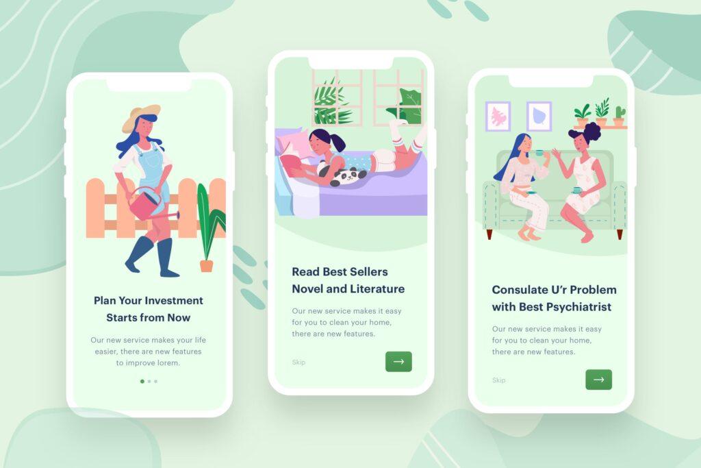 移动应用程序启动页插画闪屏/居家生活场景插画Womens Learn Socialize插图