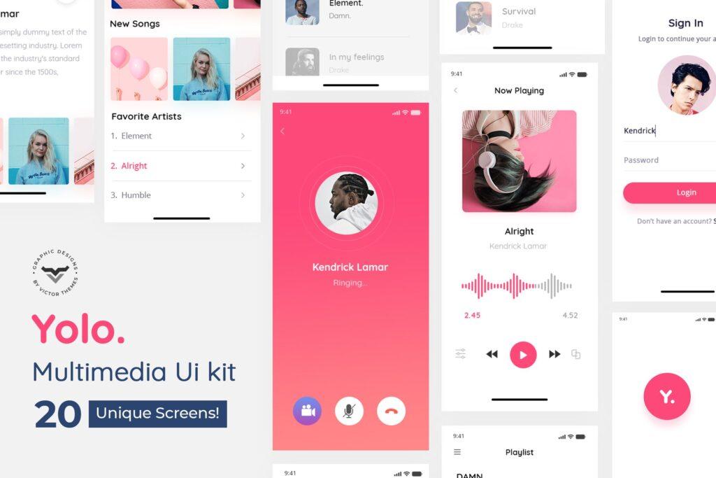 多媒体音乐类移动应用模板素材下载UI KitYolo Multimedia Mobile App UI Kit插图