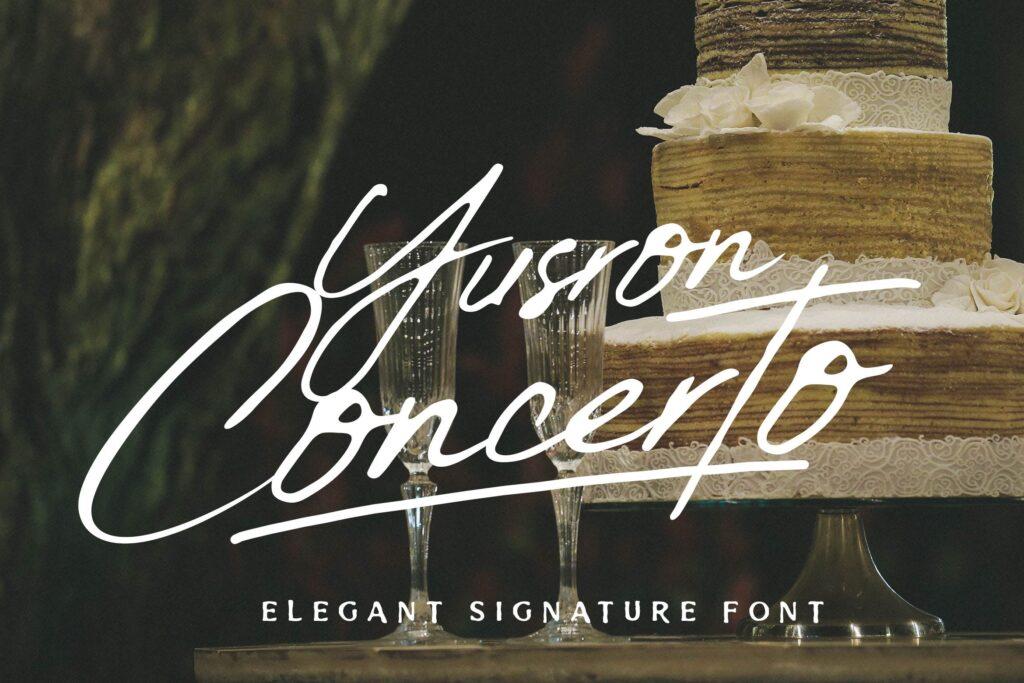钢笔手写艺术签名英文字体模板素材下载Yusron Concertos插图