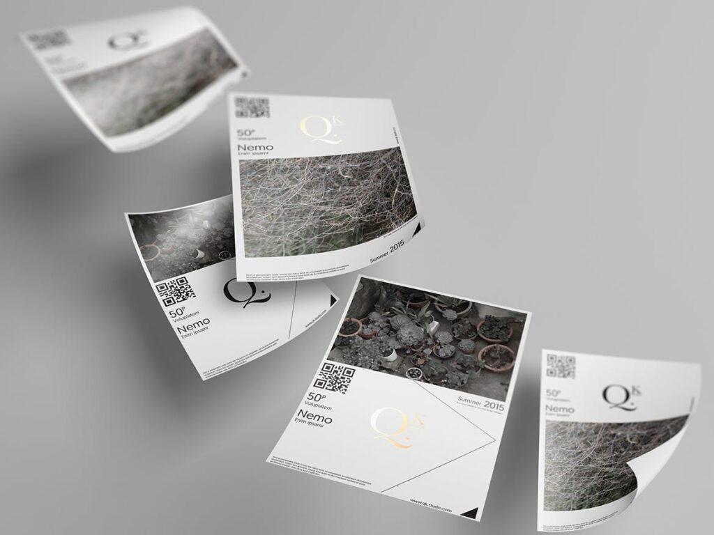 企业传单宣传册模型素材样机下载A4 A5 Poster Flyer Mockups V4插图(8)
