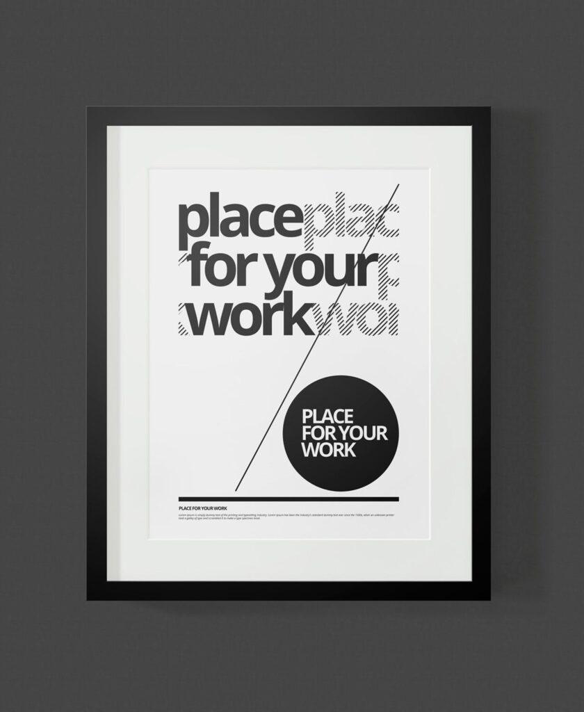 黑白艺术相框模型样机素材下载Frame For Your Work Pd73r4插图(9)