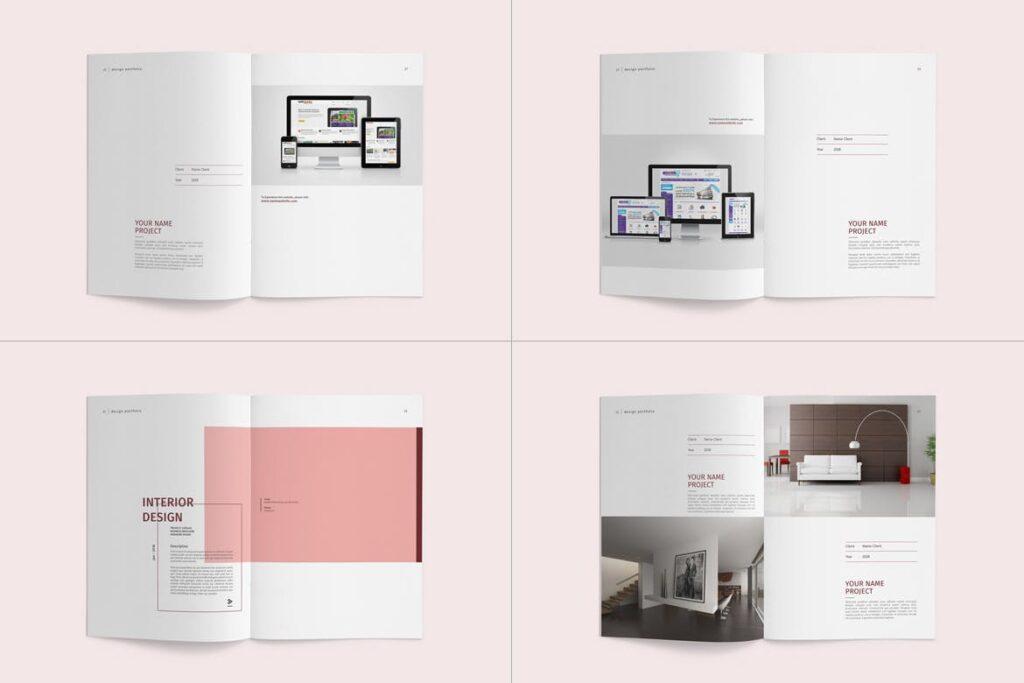 精致文艺室内设计画册模版素材Graphic Design Portfolio Template插图(9)