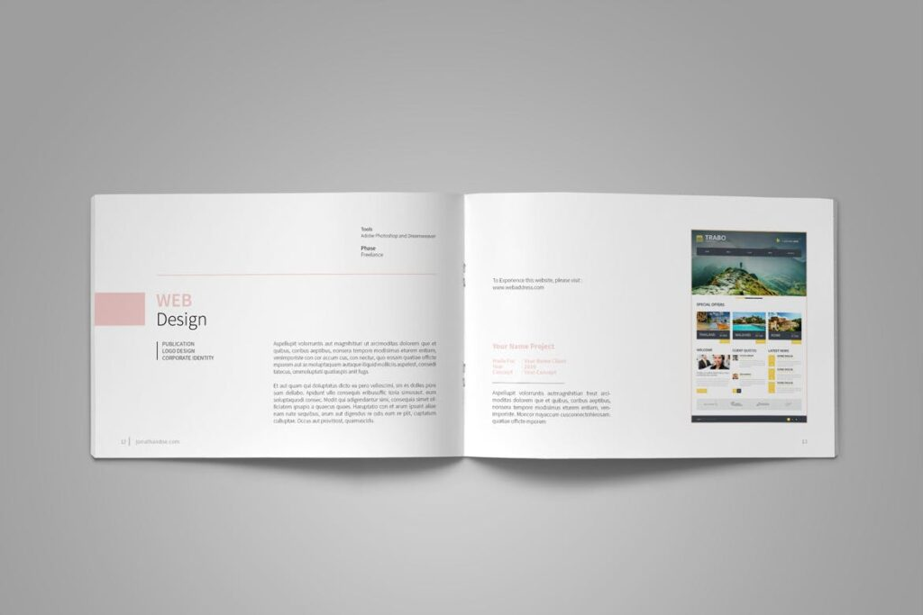 设计师工作产品/室内设计/家居设计展示画册模版Graphic Design Portfolio Template插图(9)