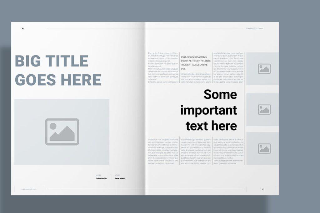 黑白经典艺术摄影画册杂志模板Gray Brochure插图(8)
