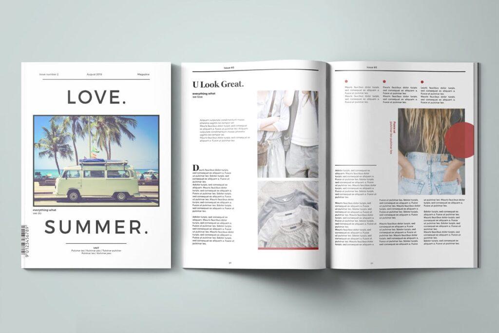 爱情夏日主题/美好生活方式杂志画册模版Love Summer Magazine Template插图(9)