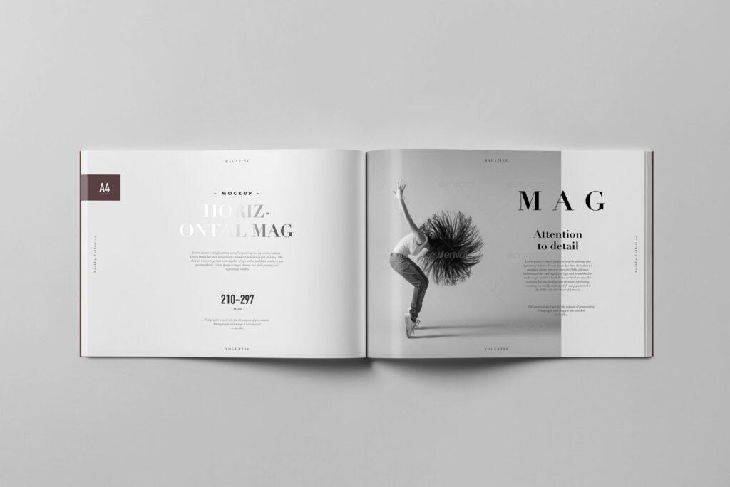 A4横版杂志封面/内页展示样机4 Horizontal Magazine Mockup 3插图(10)