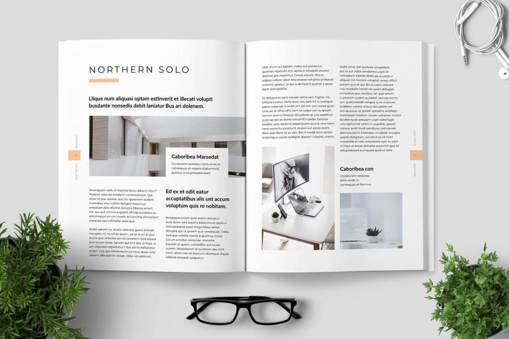 简洁优雅时生活方式或销售展示画册模板素材下载Clean Minimal Magazine Design插图(10)