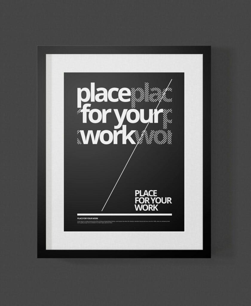 黑白艺术相框模型样机素材下载Frame For Your Work Pd73r4插图(10)