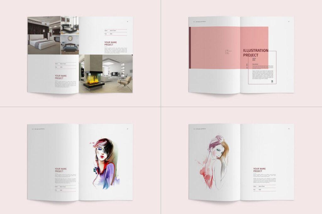 精致文艺室内设计画册模版素材Graphic Design Portfolio Template插图(10)