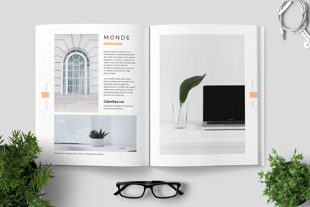 简洁优雅时生活方式或销售展示画册模板素材下载Clean Minimal Magazine Design插图(11)