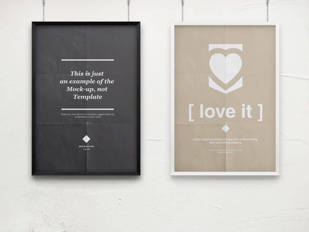海报展示画框相框模型样机效果图Frame For Your Work 2插图(11)