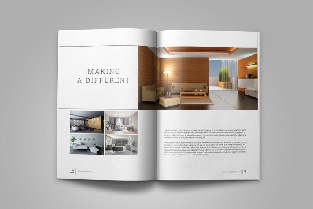 优雅简洁室内设计手册/目录/杂志画册模板PSD Interior Brochures Catalogs Magazine插图(11)