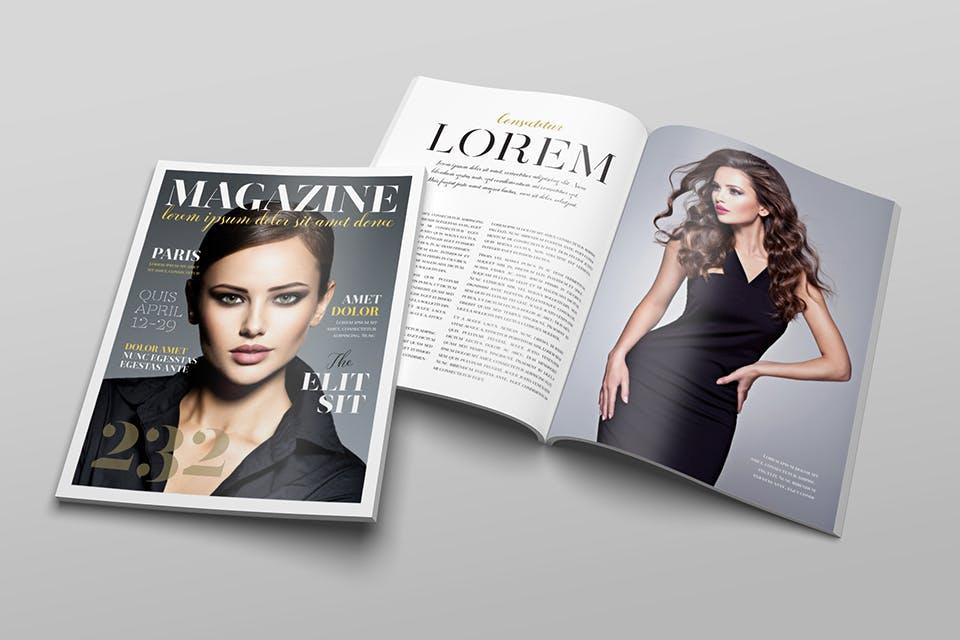 时尚服装杂志/封面/内页样机展示US Letter Magazine Mockup VN7KUN插图(9)