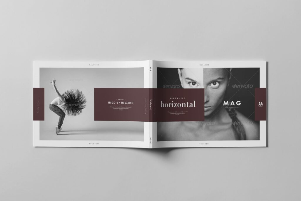 A4横版杂志封面/内页展示样机4 Horizontal Magazine Mockup 3插图(12)