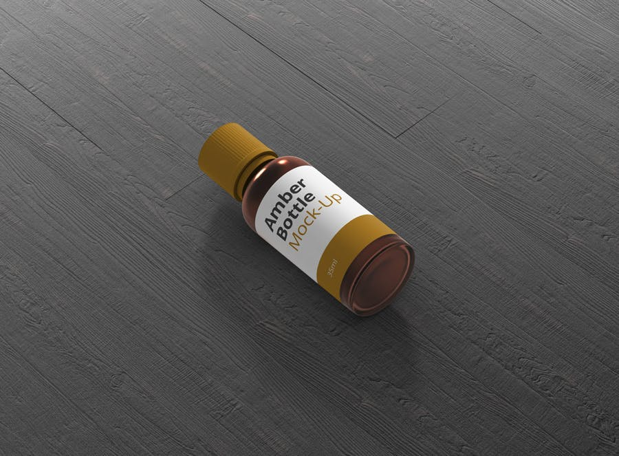 6个高品质琥珀药品瓶模型样机Amber Bottle Mockup插图(11)