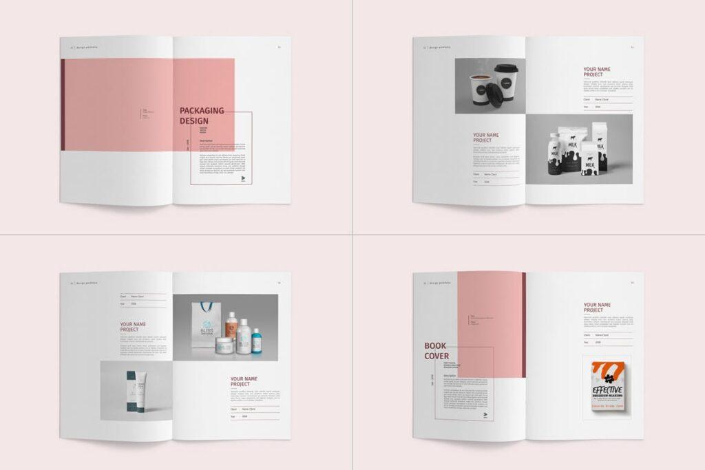 精致文艺室内设计画册模版素材Graphic Design Portfolio Template插图(12)