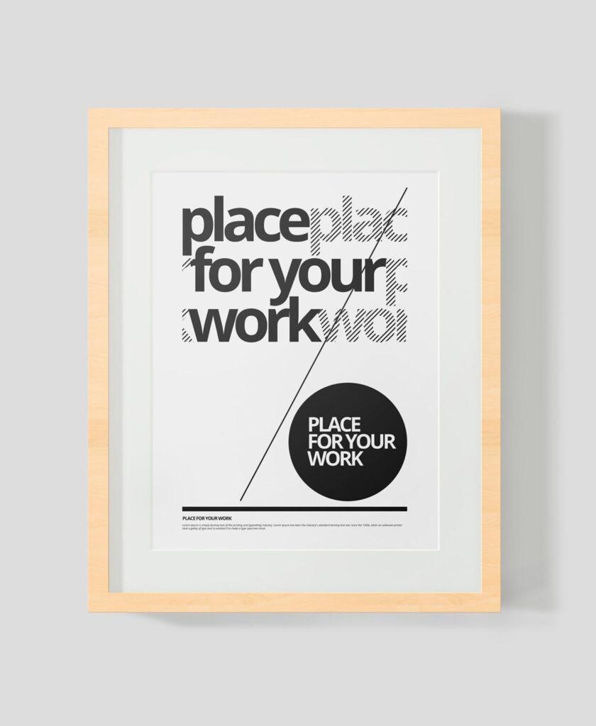 黑白艺术相框模型样机素材下载Frame For Your Work Pd73r4插图(12)