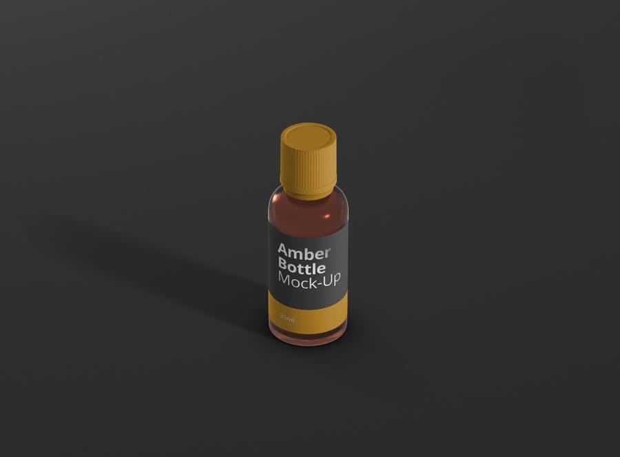 6个高品质琥珀药品瓶模型样机Amber Bottle Mockup插图(13)