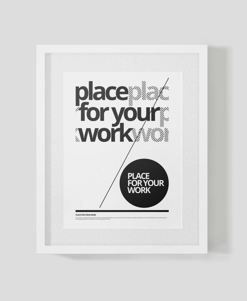 黑白艺术相框模型样机素材下载Frame For Your Work Pd73r4插图(13)