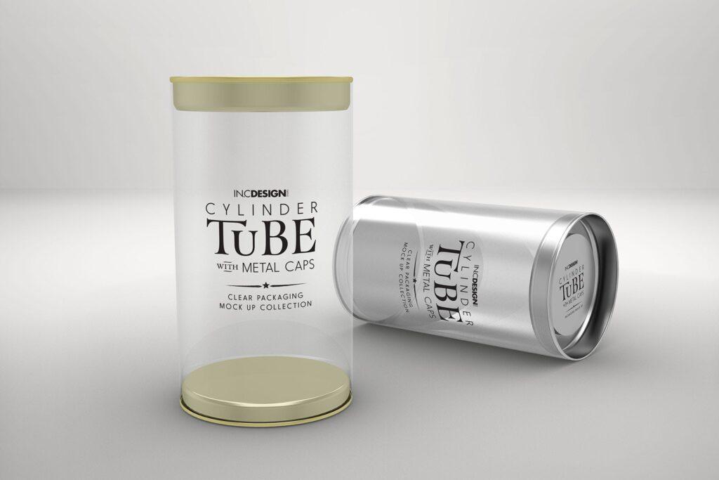 带有金属盖的PVC圆筒管包装样机模型/多角度展示样机效果图120mm Cylinder Tube Packaging Mockup插图(1)