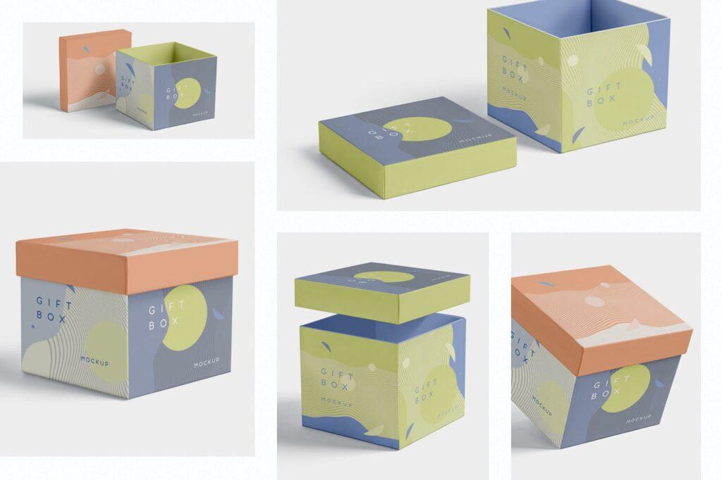 5个礼品包装盒/生日礼物模型样机模型效果图5 Attractive Gift Box Mockups插图(1)