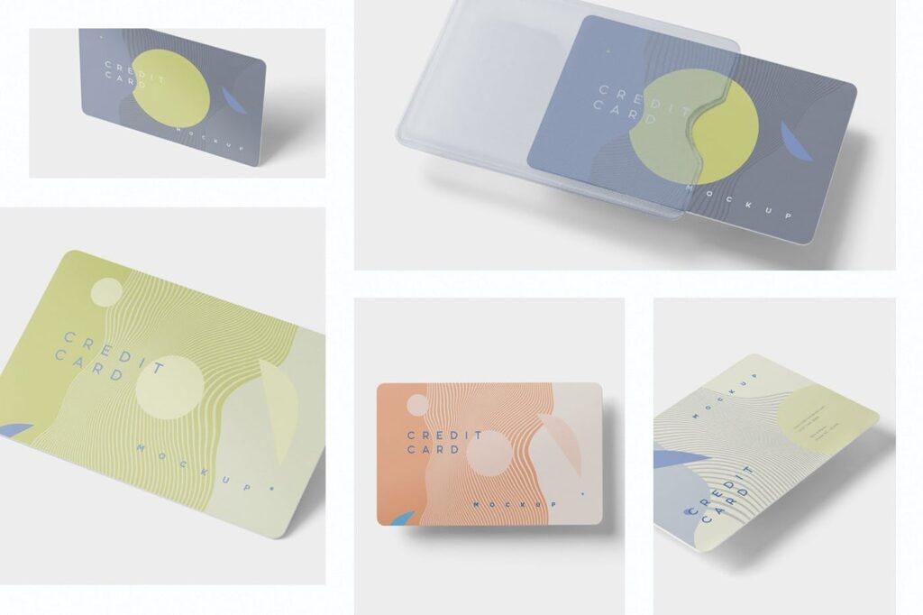 名片包装盒样机模型/信用卡模型样机素材下载5 Credit Card Mockups插图(1)