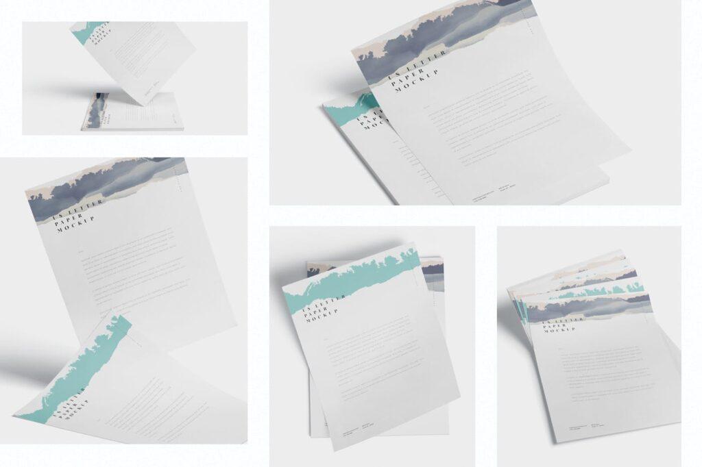 企业宣传传单模型样机效果图下载5 US Letter Paper Mockups插图(1)