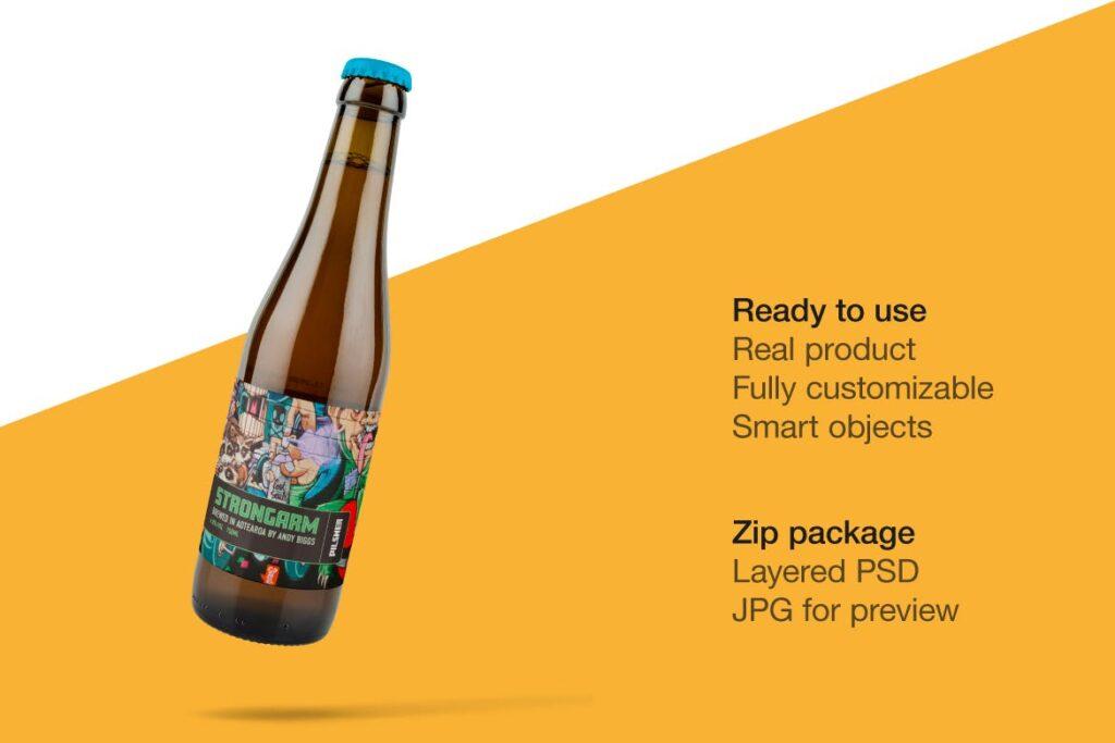 琥珀色精酿啤酒瓶模型样机展示效果图Amber Beer Bottle Mockup插图(1)