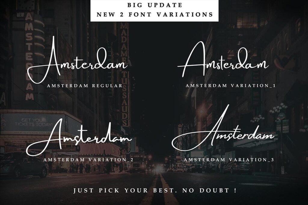 商务钢笔字体艺术签名英文字体Amsterdam Font Collection插图(1)