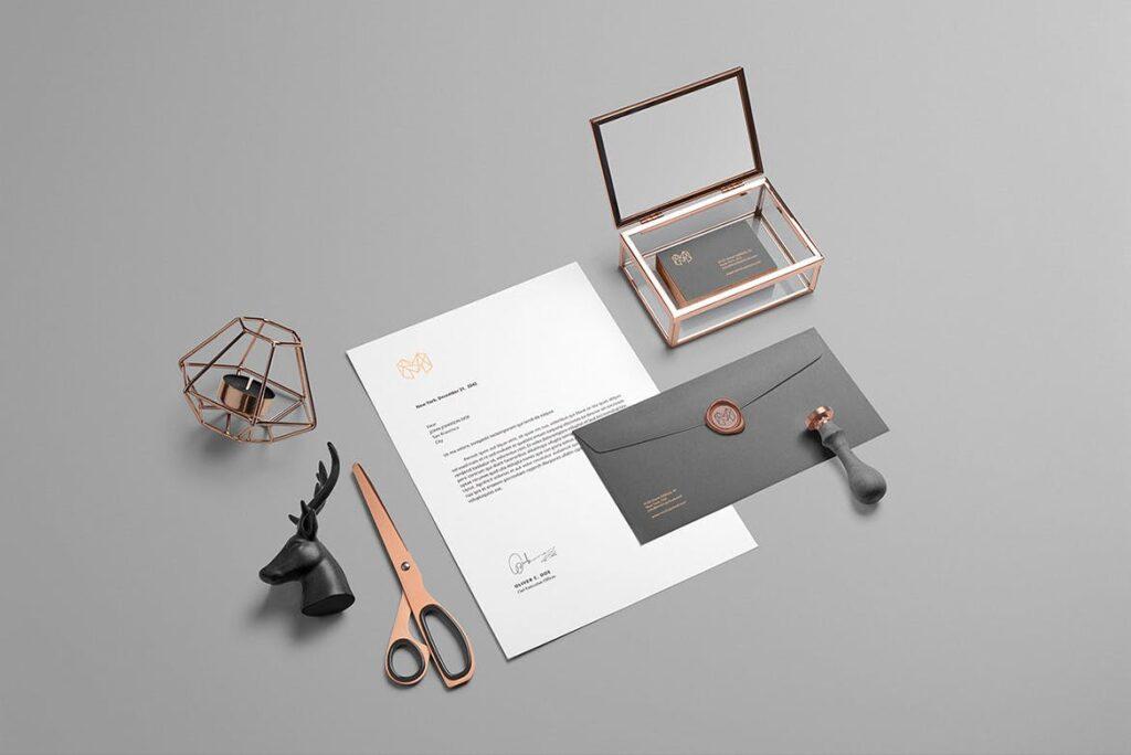 黑金配色品牌VI视觉识别系统模型样机效果图Branding Mockup Essentials Vol5插图(1)