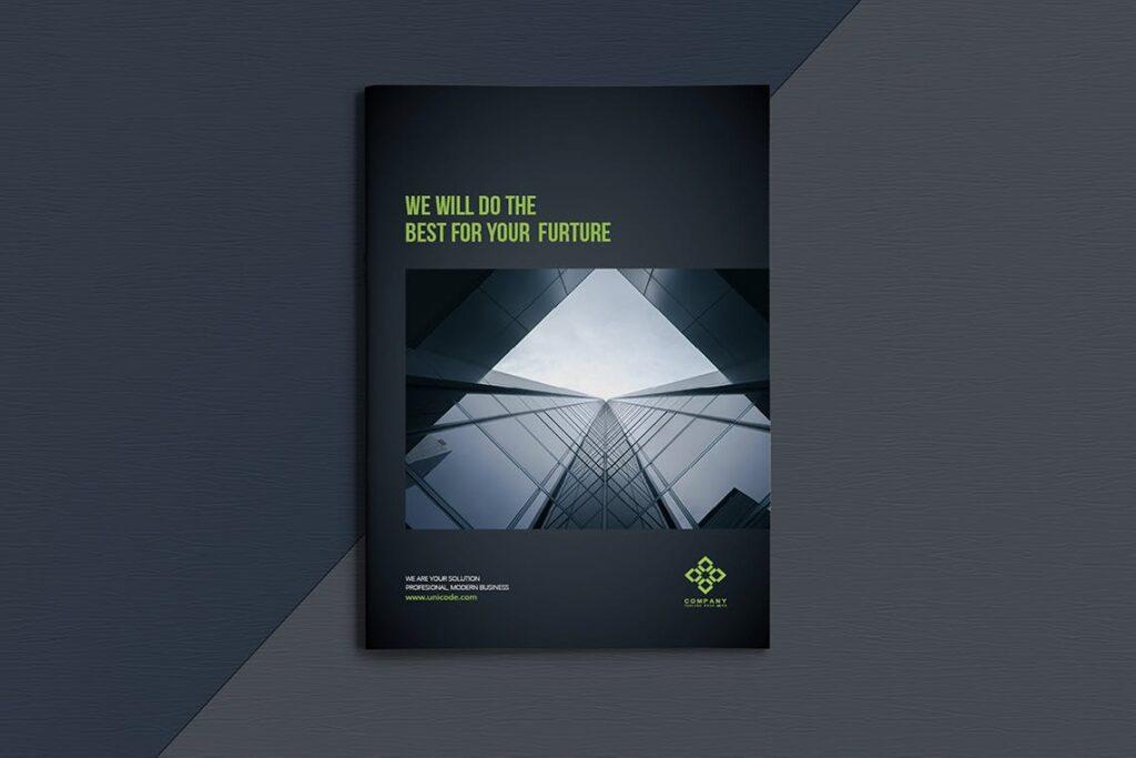 整洁典现代专业的企业商务手册模板Business Brochure Template DV95G插图(1)