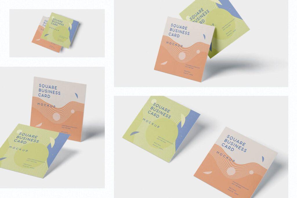 方形商务名片模型样机效果图Business Card Mockup in Square Format插图(1)