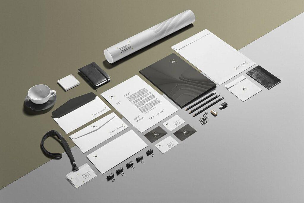 高端优质商务品牌办公文具VI模型样机素材下载Business Stationery Branding Mockup插图(1)