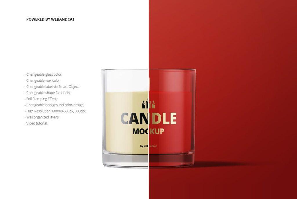 5个高质量蜡烛玻璃模型样机展示效果图Candle in Glass Mockup插图(1)