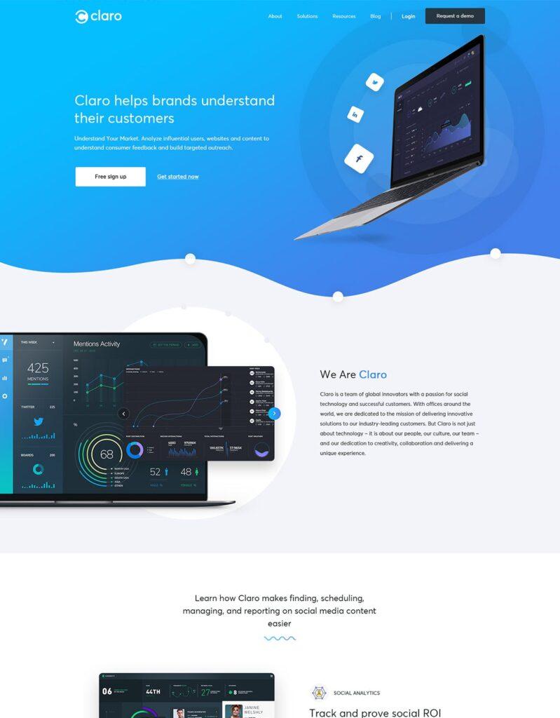软件仪表盘APP登陆页面网站UI素材模板Claro Software Dashboard App Landing Page插图(1)