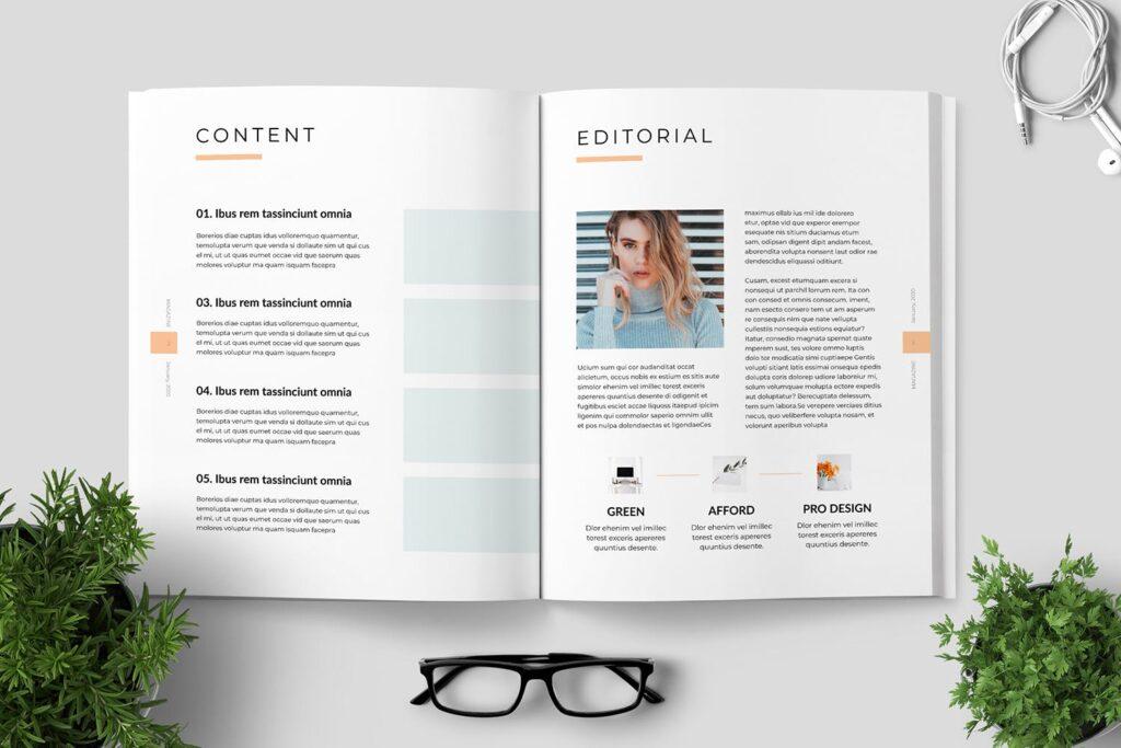 简洁优雅时生活方式或销售展示画册模板素材下载Clean Minimal Magazine Design插图(1)