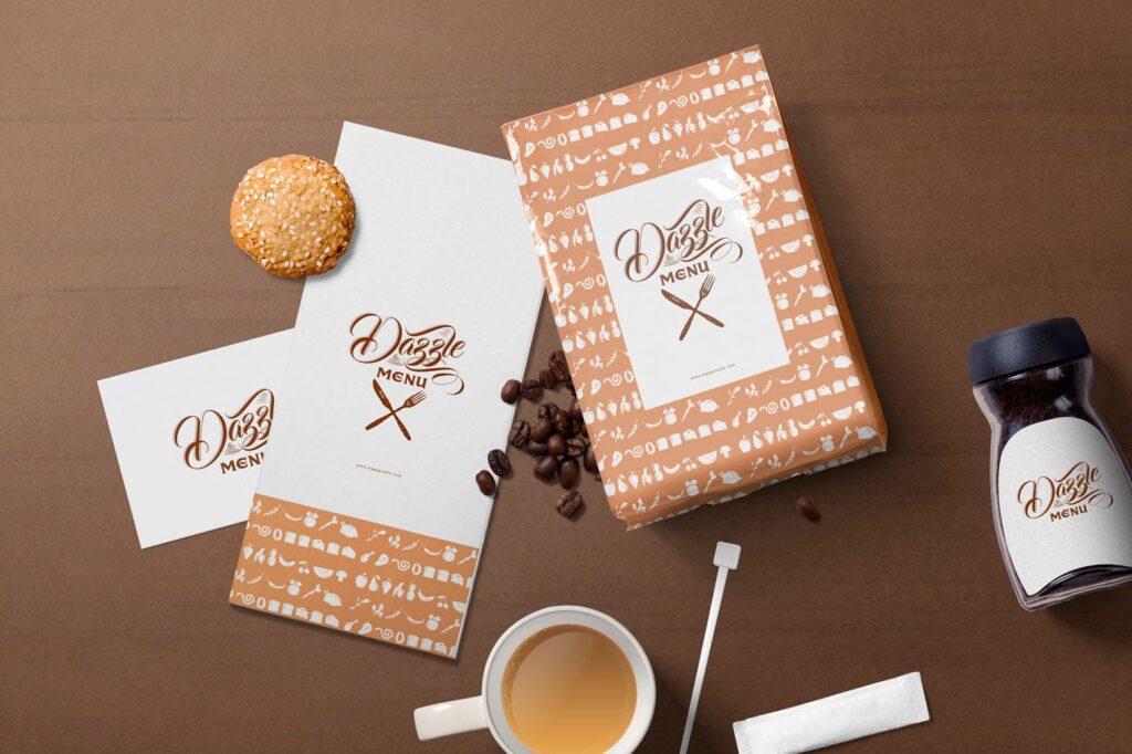 文艺咖啡店品牌VI设计样机素材下载Coffee Themed Brand Identity Mockup Scenes插图(1)