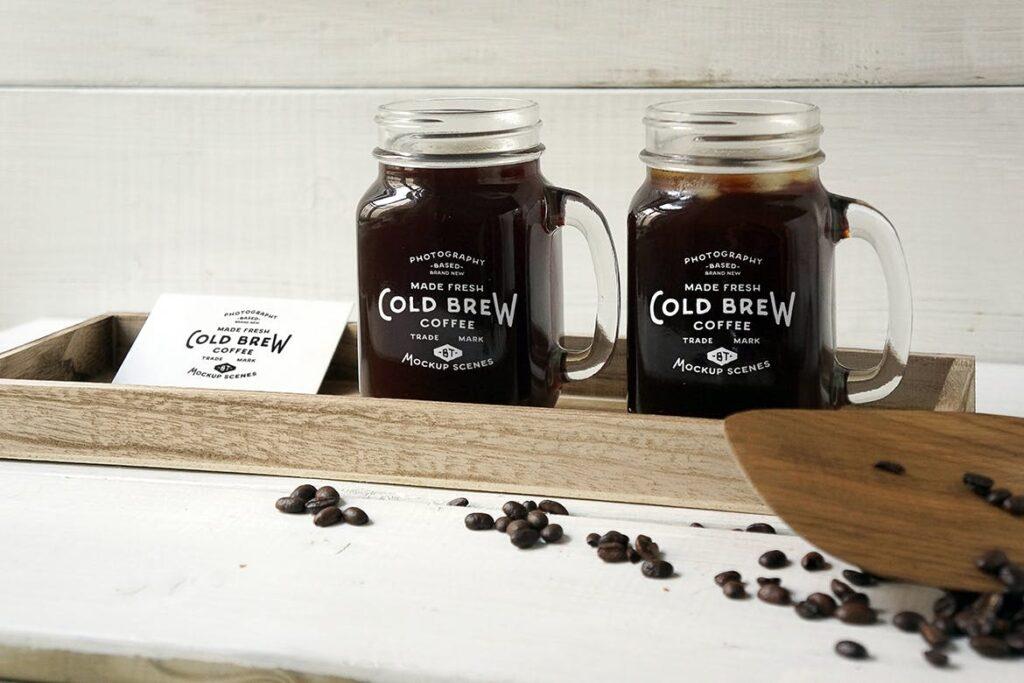 咖啡馆餐饮品牌样机/冷煮咖啡模型样机Cold Brew Coffee Mockup插图(1)