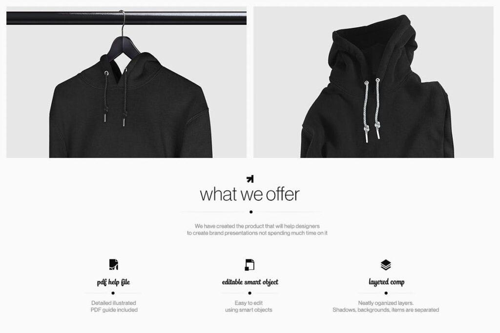 多色卫衣服装品牌样机模型素材样机pColor Hoodie Sweatshirt Mockup插图(1)